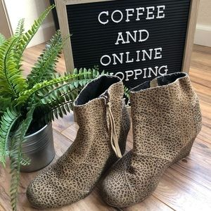 Toms Leopard Wedge Ankle Booties 7